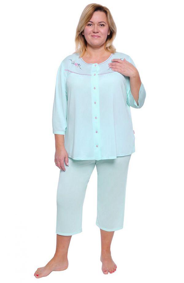 Miętowa piżama z ozdobnym haftem
