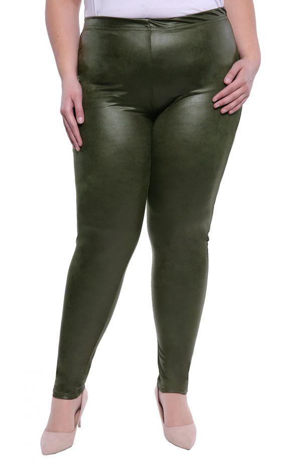 Skórkowe gładkie legginsy w kolorze khaki