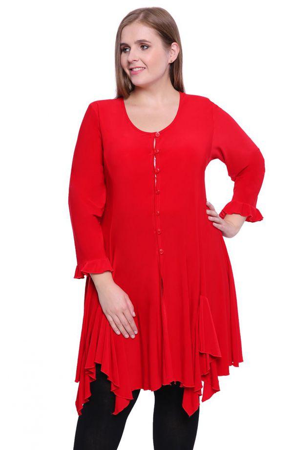 Czerwona tunika w stylu hiszpańskim