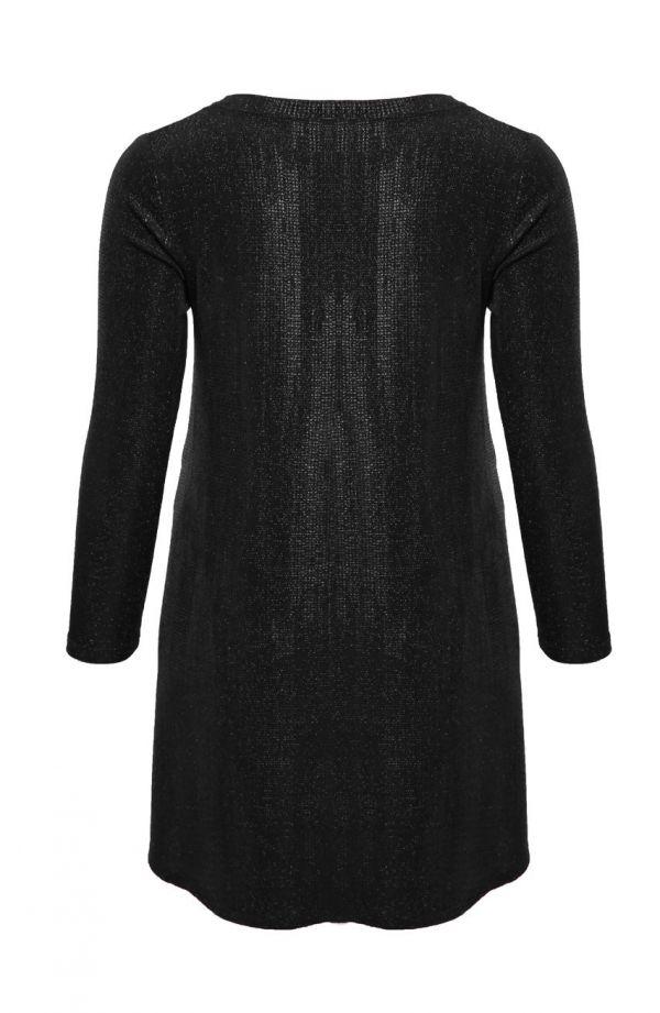 Czarna fakturowana tunika z wiązaniem