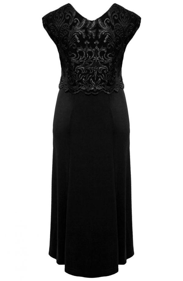 Długa czarna suknia z cekinowym ornamentem -sukienki dla puszystych