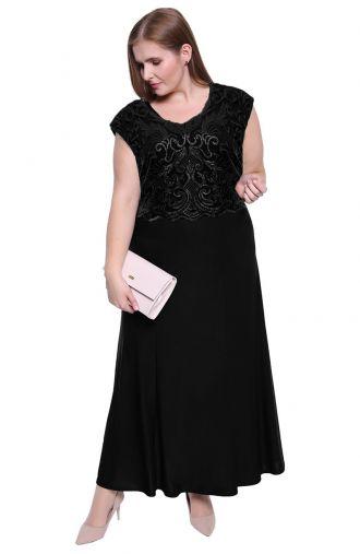 Długa czarna suknia z cekinowym ornamentem