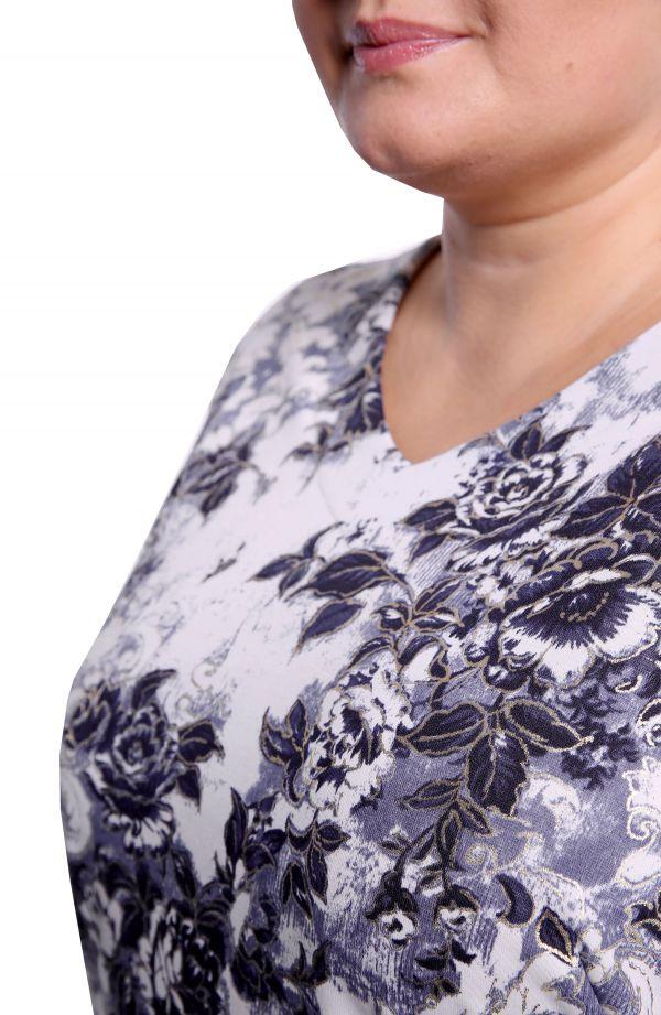 <span>Bluzki damskie duże rozmiary - b</span>luzka ozdobiona pozłacanymi kwiatami