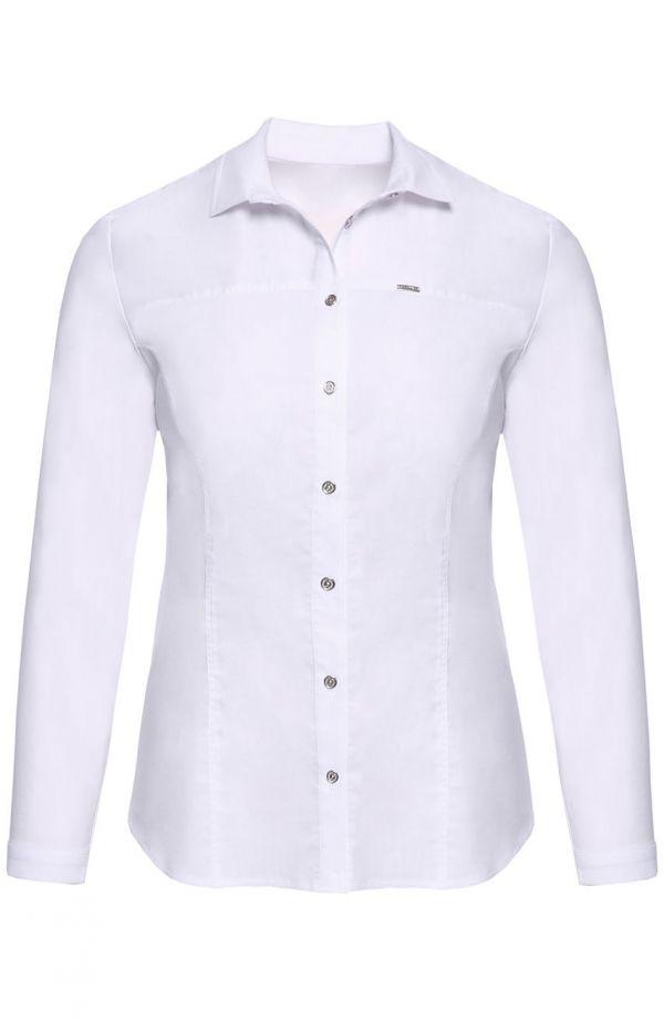 Biała koszula z długim rękawem