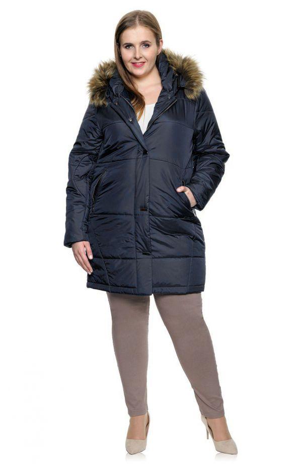 Ciepły granatowy płaszcz z futerkiem