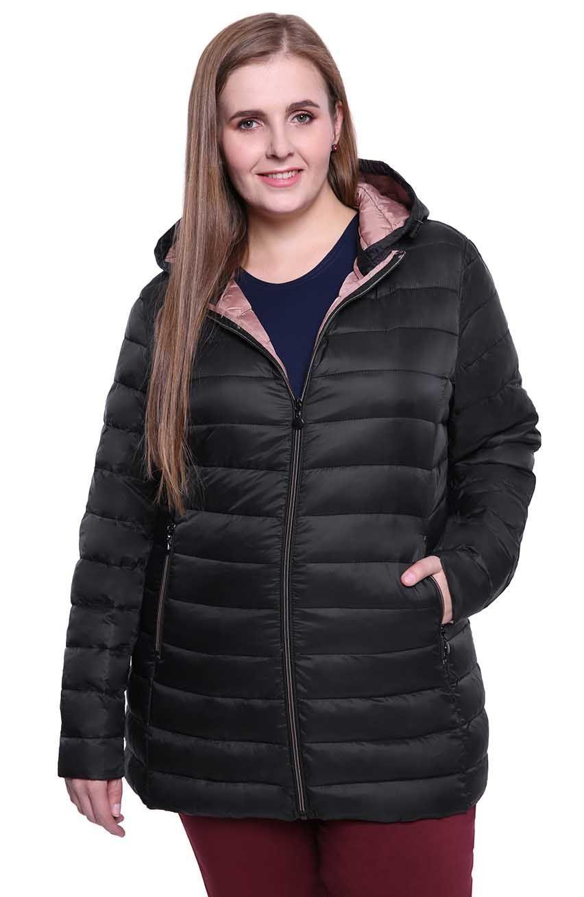 Czarna pikowana kurtka z przedłużanym tyłem modneduzerozmiary 6702