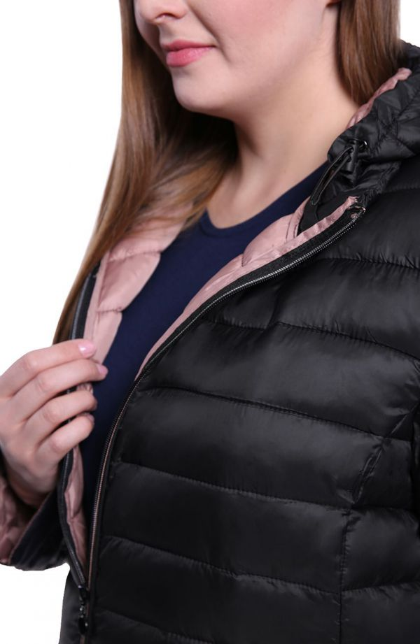 Czarna pikowana kurtka z przedłużanym tyłem