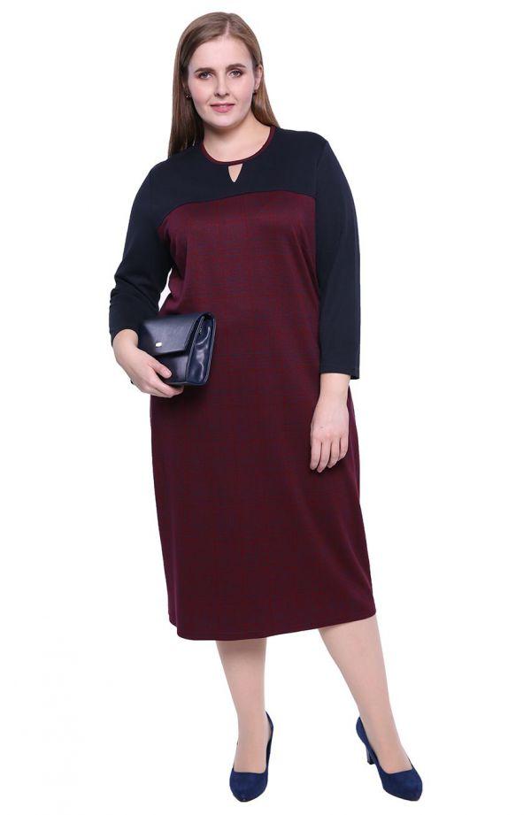 Granatowo-bordowa sukienka w pepitkę
