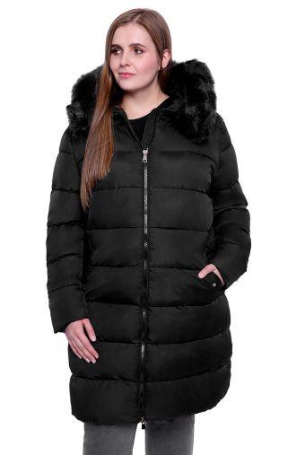 Pikowany płaszcz z kapturem w kolorze czerni