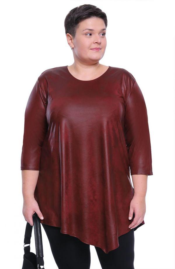 Asymetryczna skórkowa bordowa tunika