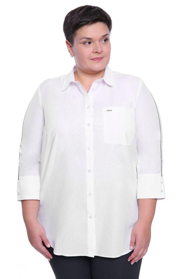 Biała koszula z lampasami w zygzaki