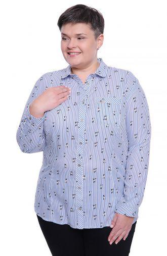 Koszula w niebieskie paski i kotki
