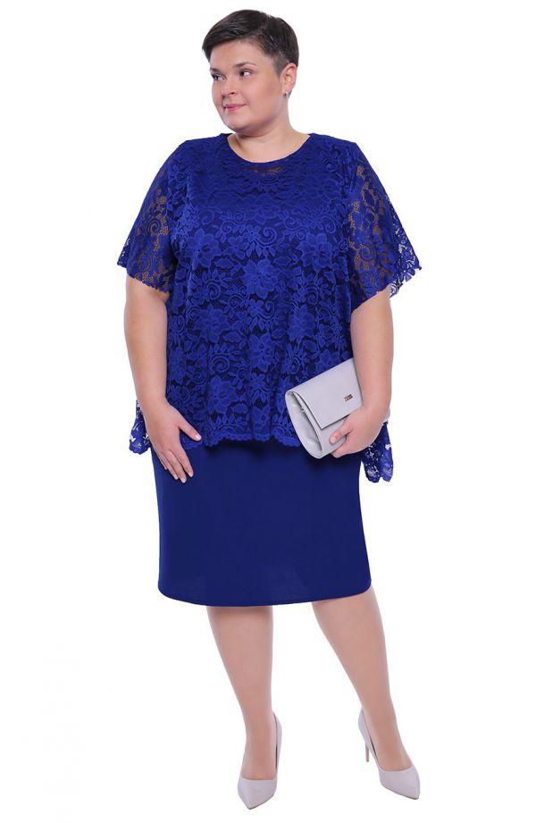 Chabrowa sukienka z koronkową narzutką