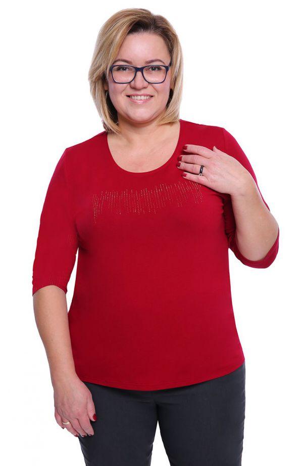 Wiśniowa bluzka z dżetami z wiskozy