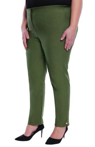 Oliwkowe spodnie 7/8 z wysokim stanem