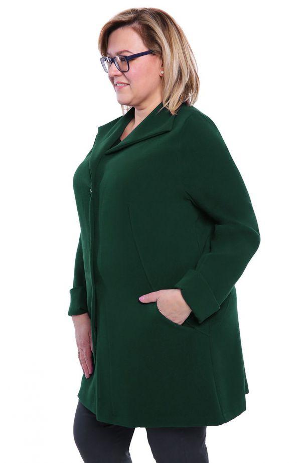 Stylowy płaszczyk w kolorze butelkowej zieleni