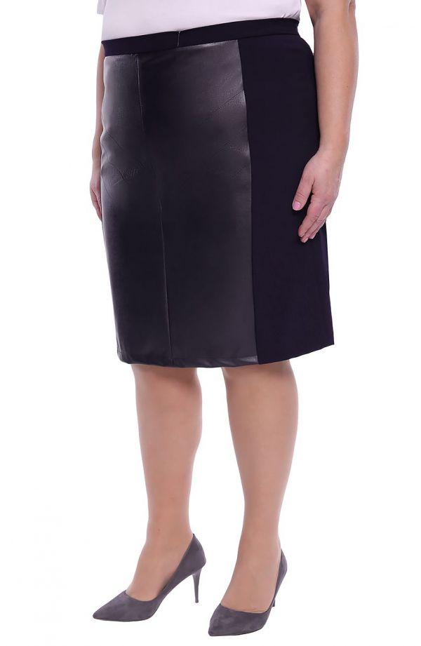 Granatowa spódnica ze skórkową wstawką