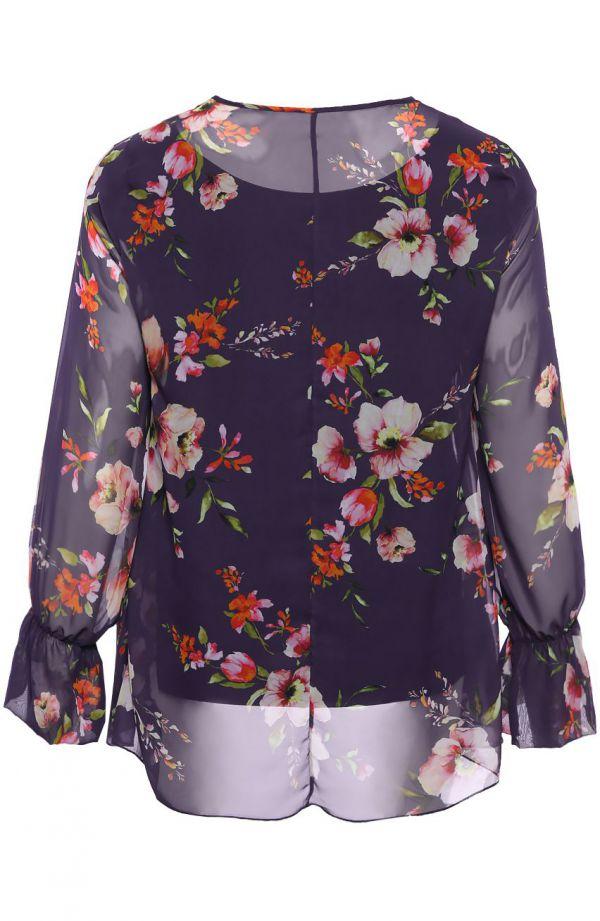 Granatowa dwuwarstwowa bluzka w kwiaty