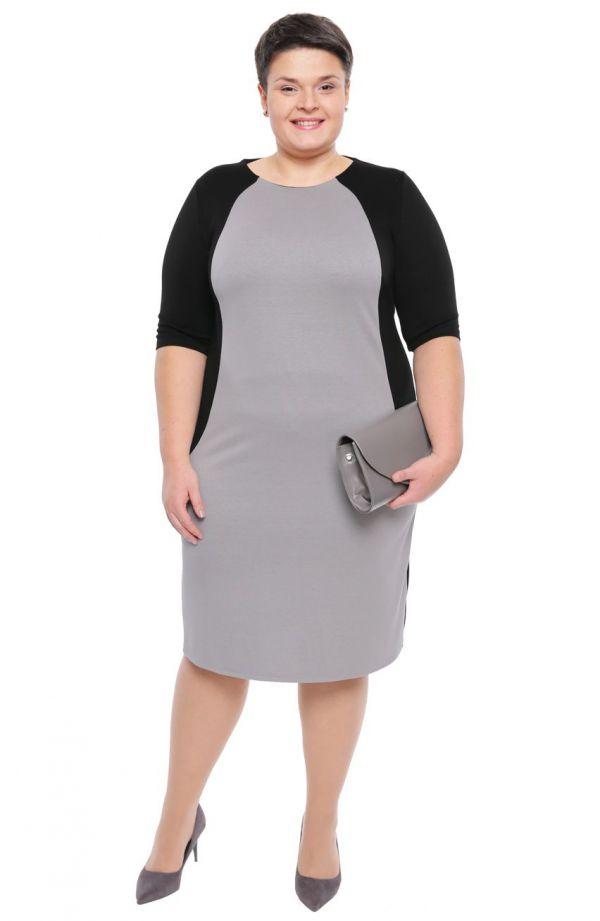 Sukienka w jasnoszarym i czarnym kolorze