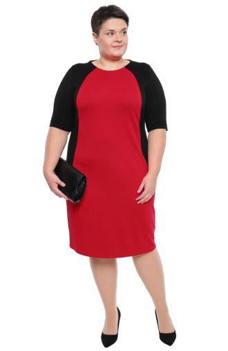 Sukienka w kolorze ciemnej maliny i czerni