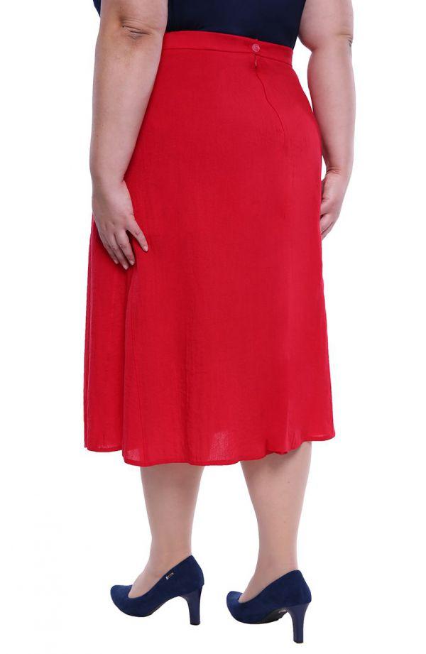 Czerwona lniana spódnica