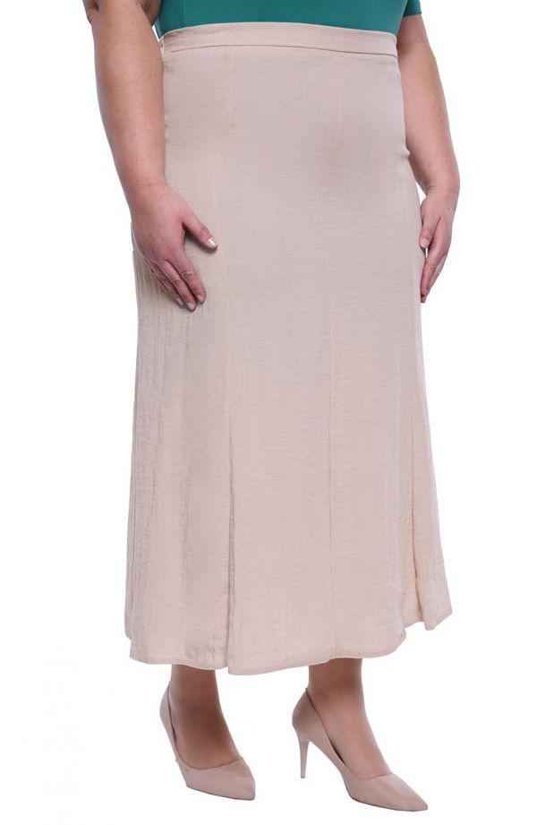 Lniana spódnica w kolorze pudrowym