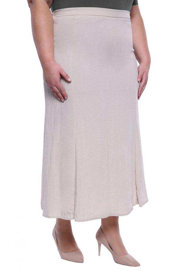 Lniana spódnica w kolorze jasnej platyny