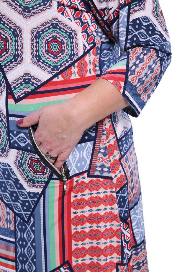 Tunika w kolorowy wzór w meksykańskim stylu