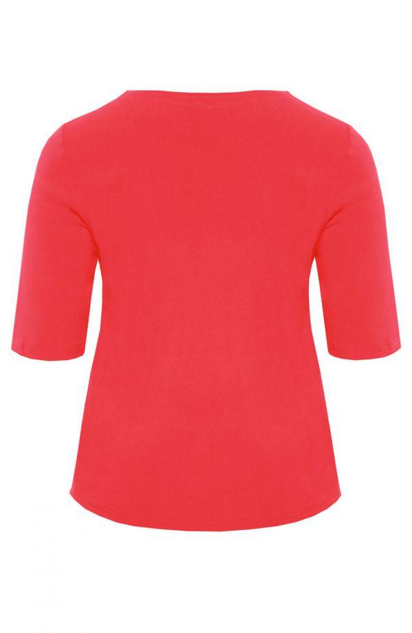 Bluzka z dżetami w kolorze arbuzowym
