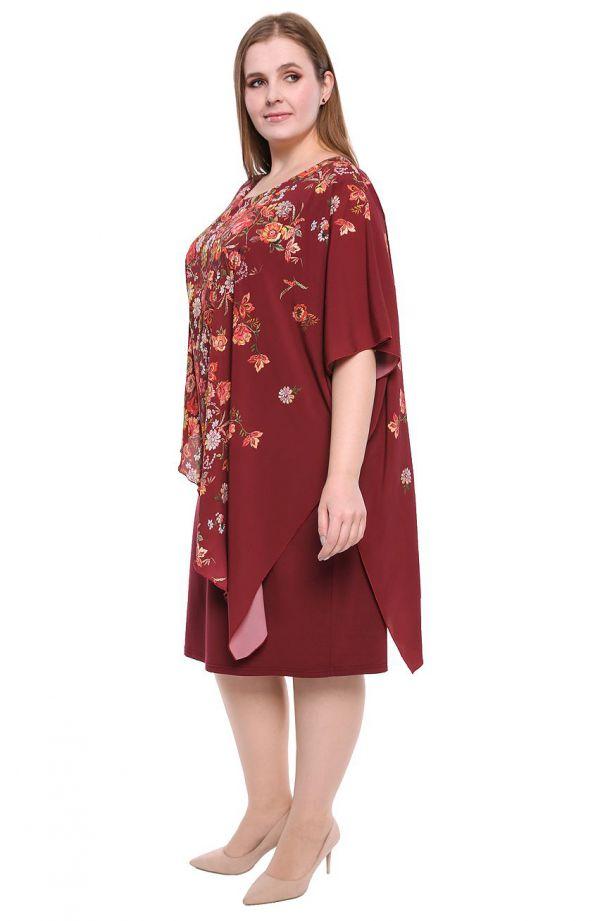 Bordowa sukienka z narzutką w folkowe kwiaty
