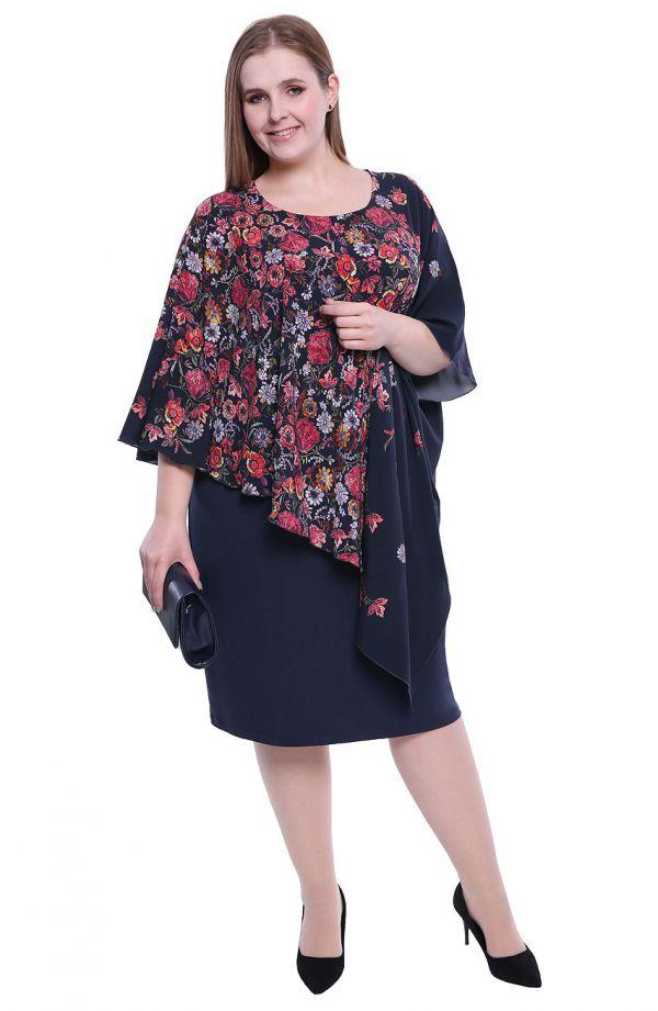 Granatowa sukienka z narzutką w folkowe kwiaty