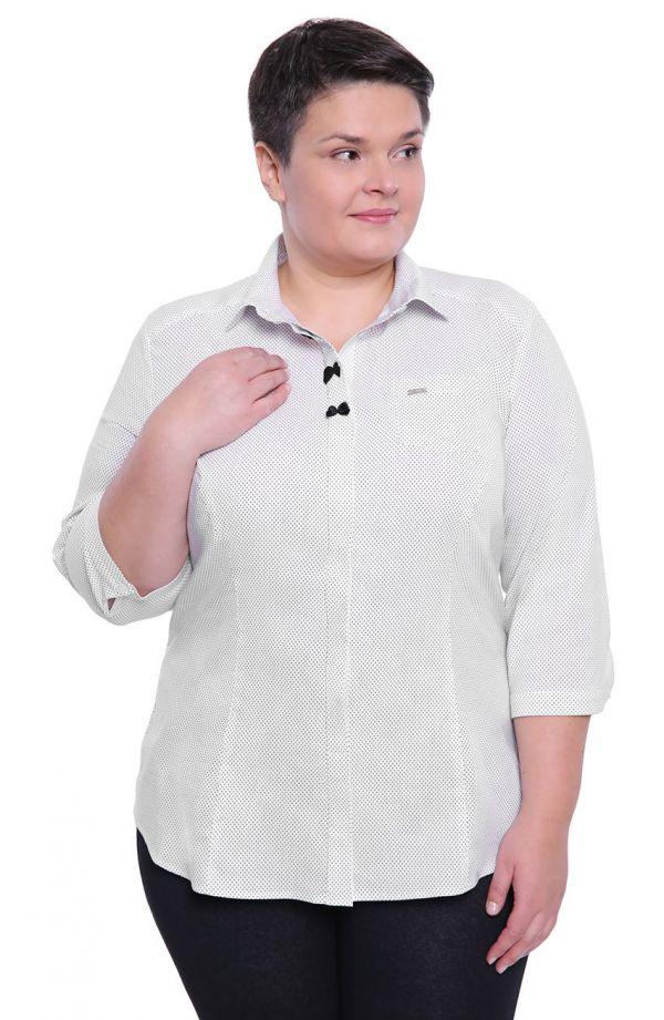 Biała koszula w groszki z kokardkami