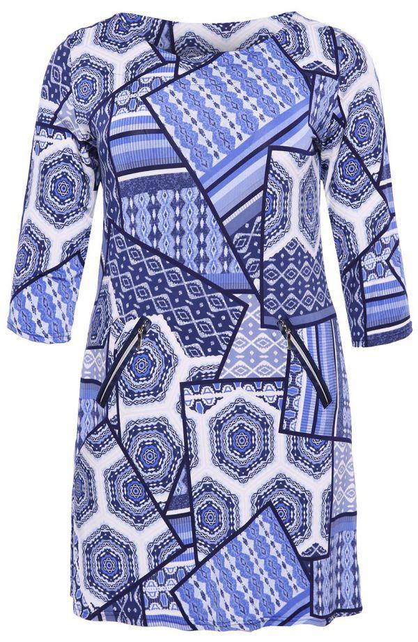Tunika w niebieski wzór w greckim stylu