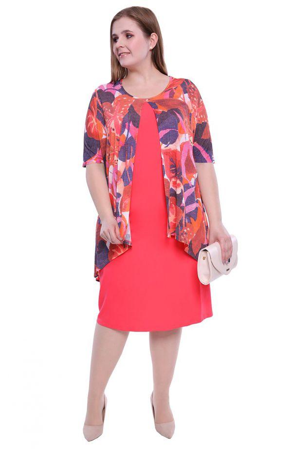 Różowy komplet sukienka z narzutką w liście