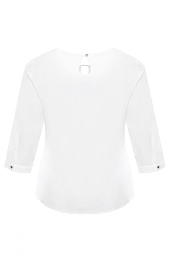 <span>Bluzki damskie duże rozmiary - b</span>iała elegancka bluzka rękaw 3/4