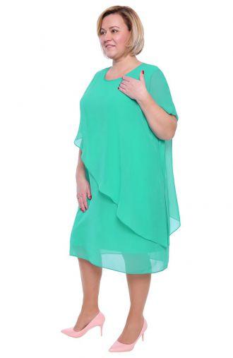 Luźna turkusowa sukienka z szyfonu