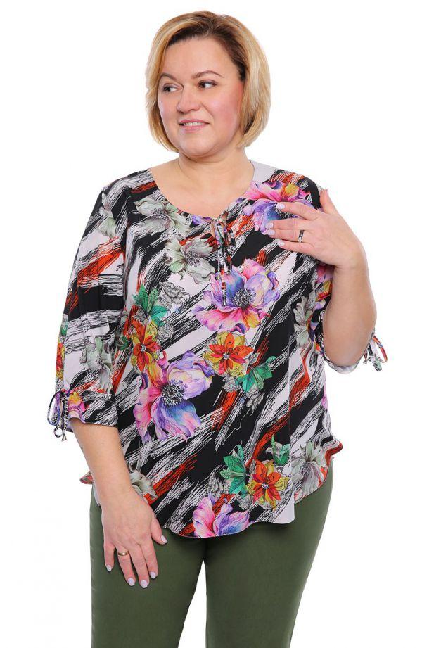 Kolorowa bluzka w akwarelowe kwiaty