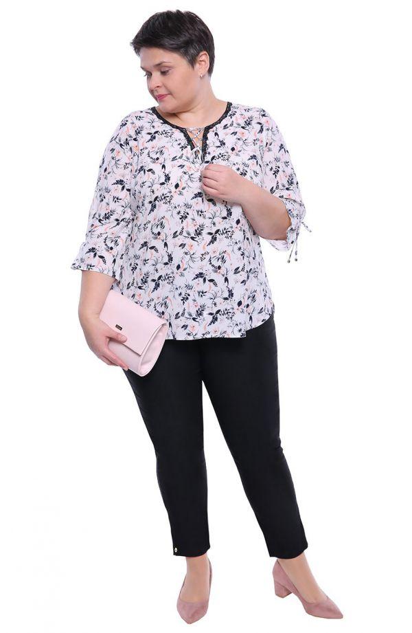 Wizytowa bluzka w pudrowe kwiaty