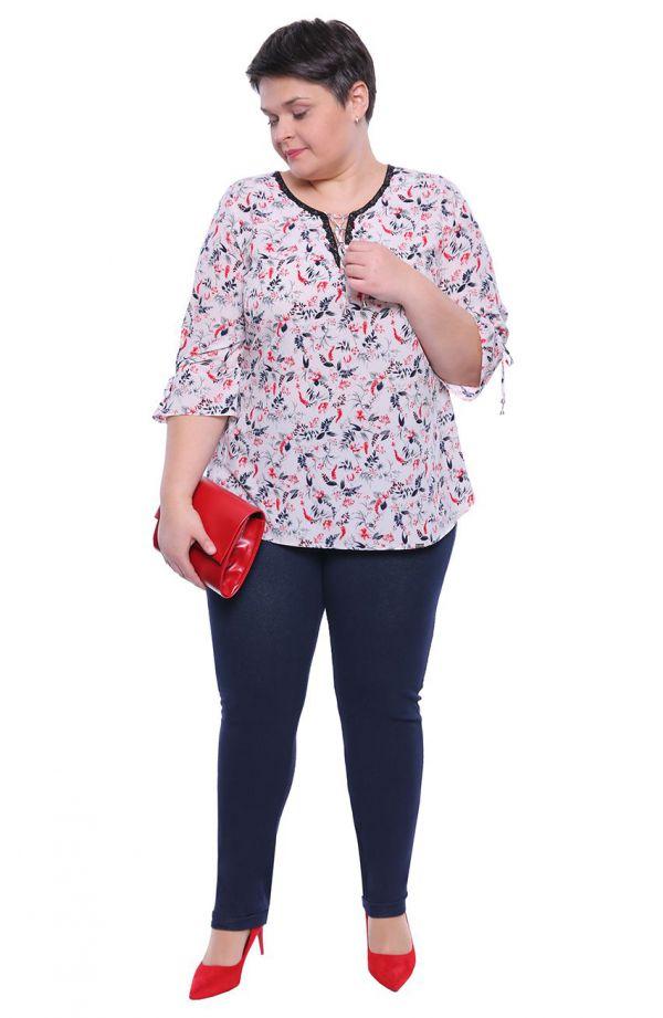 Wizytowa bluzka w czerwone kwiaty