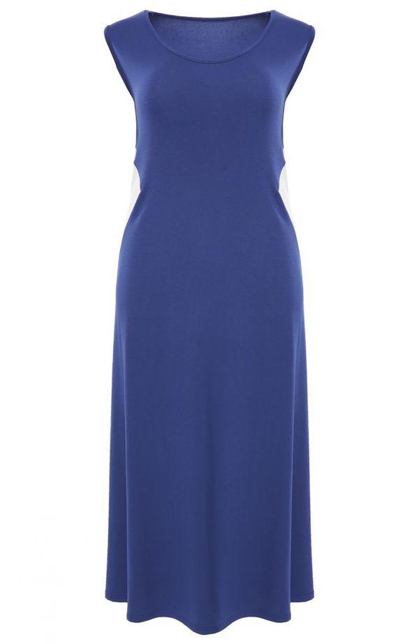 Niebieska sukienka maxi ze wstawkami