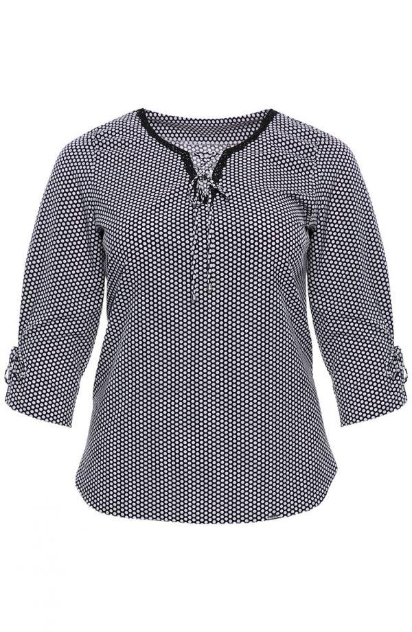 Bluzki damskie duże rozmiary - wizytowa bluzka w białe groszki