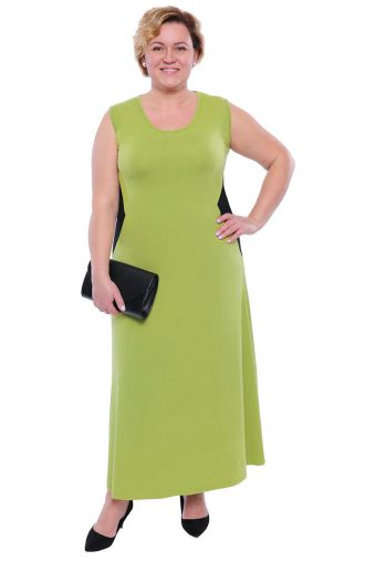 Jasnozielona sukienka maxi ze wstawkami