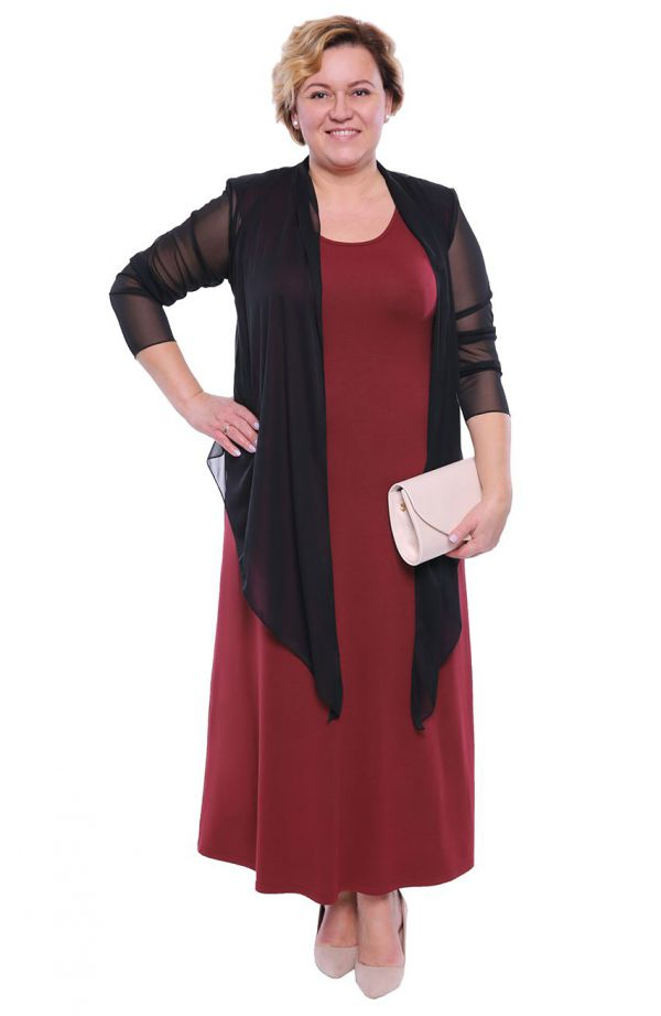 Bordowa sukienka maxi ze wstawkami