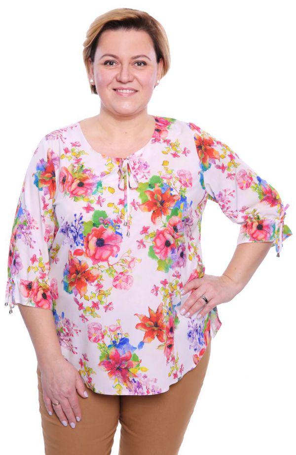 Mleczna bluzka w wiosenne kwiaty