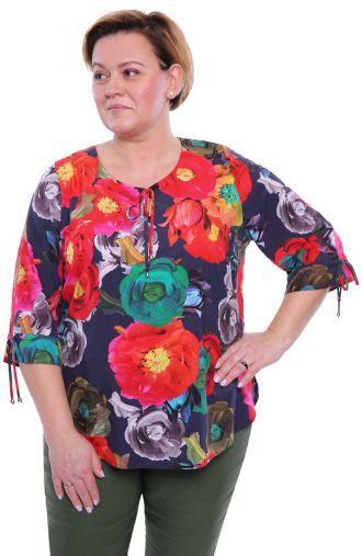 Granatowa bluzka bukiet kolorowych kwiatów