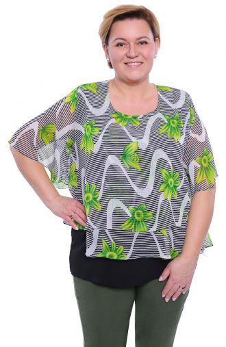 Warstwowa bluzka w paski i zielone kwiaty