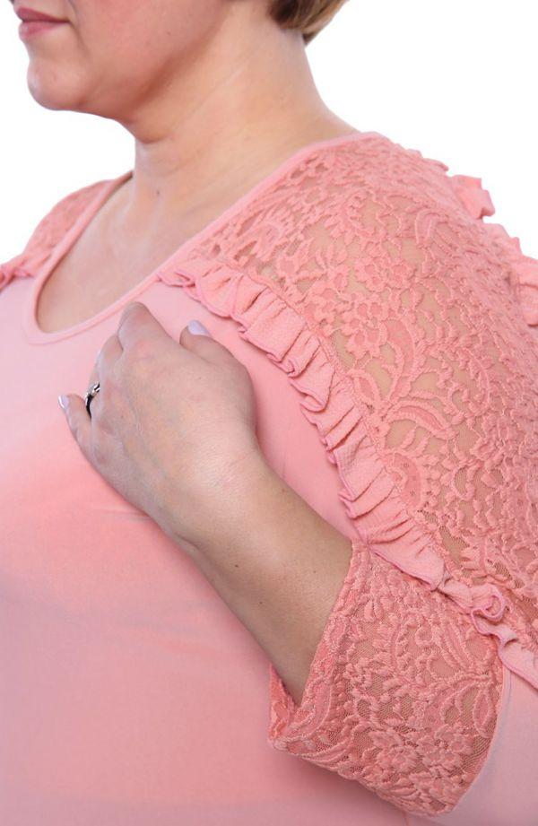 Tunika z ozdobnym rękawem w łososiowym kolorze