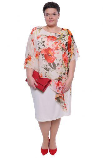 Śmietanowa sukienka z narzutką kolorowe kwiaty