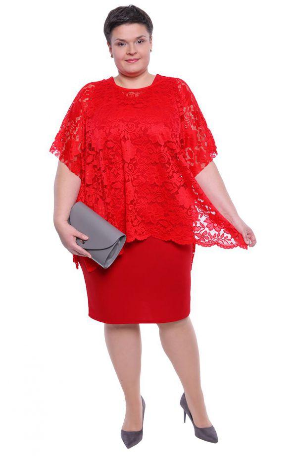 Czerwona sukienka z koronkową narzutką