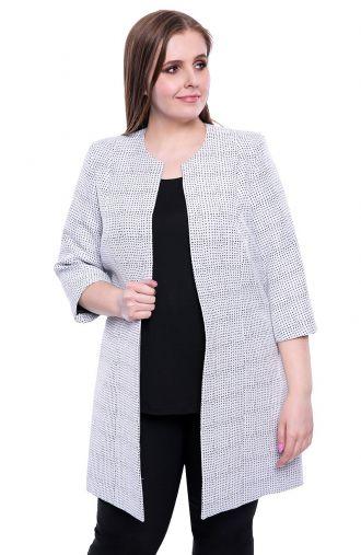 Biały płaszcz w czarny wzór